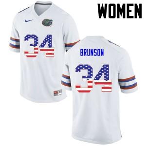 Women Florida Gators #34 Lacedrick Brunson College Football USA Flag Fashion White 425885-909