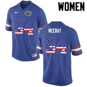 Women Florida Gators #34 Lerentee McCray College Football USA Flag Fashion Blue 275006-671