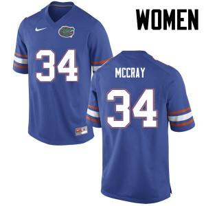 Women Florida Gators #34 Lerentee McCray College Football Blue 516325-538