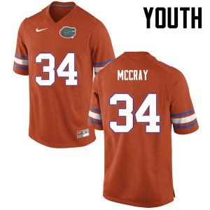 Youth Florida Gators #34 Lerentee McCray College Football Orange 526818-876