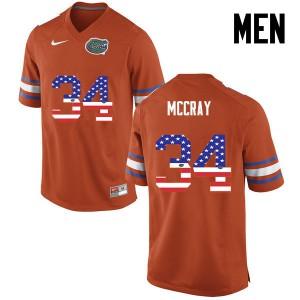 Men Florida Gators #34 Lerentee McCray College Football USA Flag Fashion Orange 325647-213