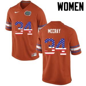 Women Florida Gators #34 Lerentee McCray College Football USA Flag Fashion Orange 449881-283