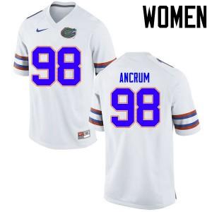 Women Florida Gators #98 Luke Ancrum College Football Jerseys White 412826-741
