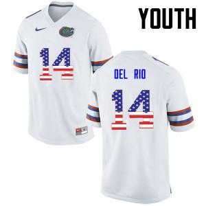 Youth Florida Gators #14 Luke Del Rio College Football USA Flag Fashion White 684587-533