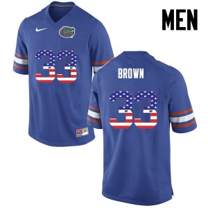 Men Florida Gators #33 Mack Brown College Football USA Flag Fashion Blue 491200-308