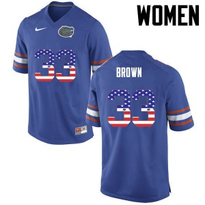 Women Florida Gators #33 Mack Brown College Football USA Flag Fashion Blue 195437-231