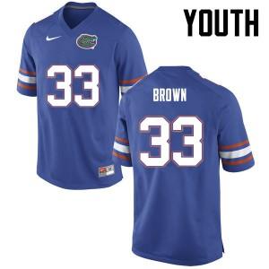Youth Florida Gators #33 Mack Brown College Football Blue 946281-342