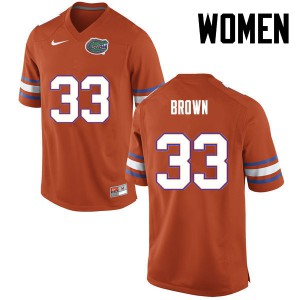 Women Florida Gators #33 Mack Brown College Football Orange 698021-298
