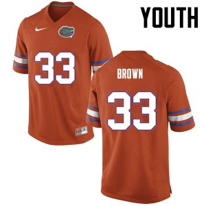 Youth Florida Gators #33 Mack Brown College Football Orange 421378-167