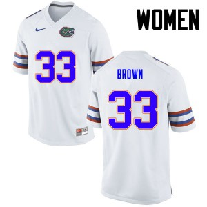Women Florida Gators #33 Mack Brown College Football White 418338-936