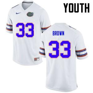 Youth Florida Gators #33 Mack Brown College Football White 318119-506