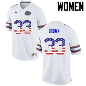 Women Florida Gators #33 Mack Brown College Football USA Flag Fashion White 813123-461