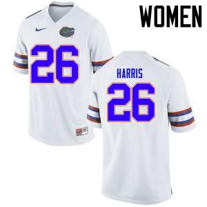 Women Florida Gators #26 Marcell Harris College Football Jerseys White 714798-467