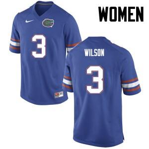 Women Florida Gators #3 Marco Wilson College Football Blue 140625-385