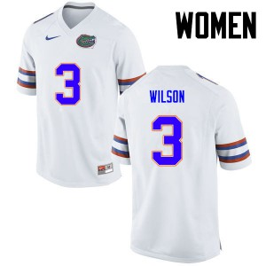 Women Florida Gators #3 Marco Wilson College Football White 181356-804