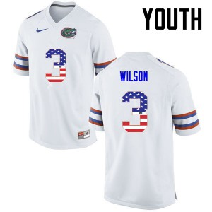 Youth Florida Gators #3 Marco Wilson College Football USA Flag Fashion White 251039-426