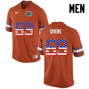 Men Florida Gators #69 Marcus Givens College Football USA Flag Fashion Orange 764521-536