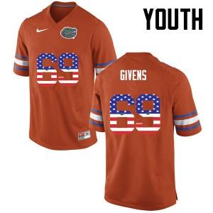Youth Florida Gators #69 Marcus Givens College Football USA Flag Fashion Orange 924867-494