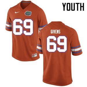 Youth Florida Gators #69 Marcus Givens College Football Jerseys Orange 529289-854