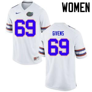 Women Florida Gators #69 Marcus Givens College Football Jerseys White 582757-574