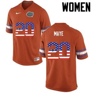 Women Florida Gators #20 Marcus Maye College Football USA Flag Fashion Orange 599791-554