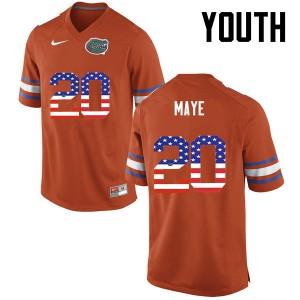 Youth Florida Gators #20 Marcus Maye College Football USA Flag Fashion Orange 642482-244