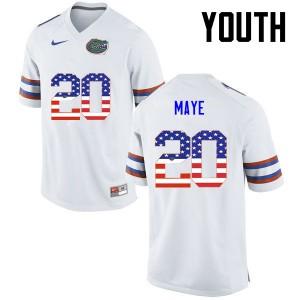 Youth Florida Gators #20 Marcus Maye College Football USA Flag Fashion White 633174-112
