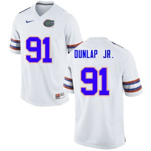 Men #91 Marlon Dunlap Jr. Florida Gators College Football Jerseys White 831420-441