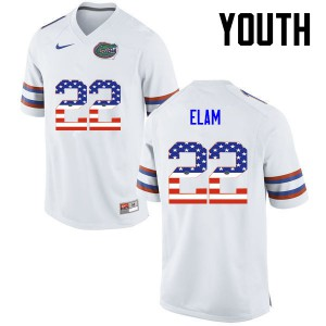 Youth Florida Gators #22 Matt Elam College Football USA Flag Fashion White 288831-436