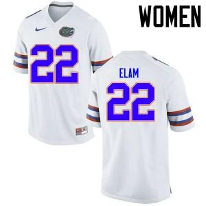 Women Florida Gators #22 Matt Elam College Football Jerseys White 844679-812