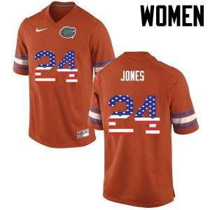 Women Florida Gators #24 Matt Jones College Football USA Flag Fashion Orange 923819-957