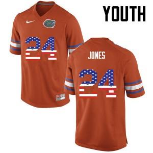 Youth Florida Gators #24 Matt Jones College Football USA Flag Fashion Orange 633088-392