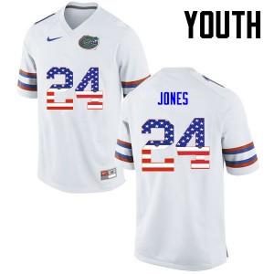 Youth Florida Gators #24 Matt Jones College Football USA Flag Fashion White 126471-758