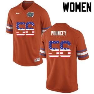 Women Florida Gators #56 Maurkice Pouncey College Football USA Flag Fashion Orange 915829-274
