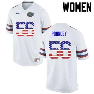 Women Florida Gators #56 Maurkice Pouncey College Football USA Flag Fashion White 190460-650