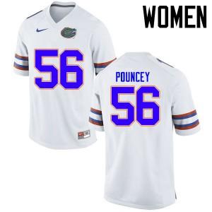 Women Florida Gators #56 Maurkice Pouncey College Football Jerseys White 495526-309