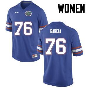 Women Florida Gators #76 Max Garcia College Football Blue 956302-307