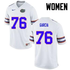Women Florida Gators #76 Max Garcia College Football White 242393-304