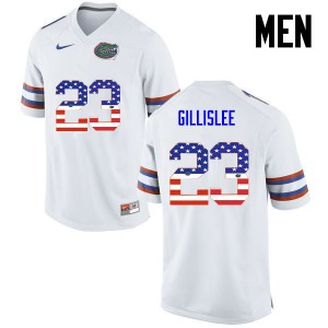 Men Florida Gators #23 Mike Gillislee College Football USA Flag Fashion White 745833-517