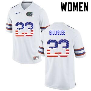 Women Florida Gators #23 Mike Gillislee College Football USA Flag Fashion White 282345-419