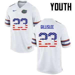 Youth Florida Gators #23 Mike Gillislee College Football USA Flag Fashion White 923976-278