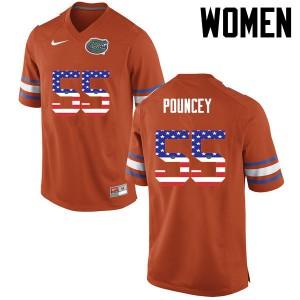 Women Florida Gators #55 Mike Pouncey College Football USA Flag Fashion Orange 691249-584