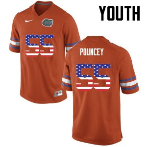 Youth Florida Gators #55 Mike Pouncey College Football USA Flag Fashion Orange 435992-399