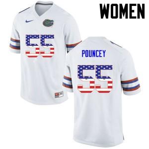 Women Florida Gators #55 Mike Pouncey College Football USA Flag Fashion White 828840-536