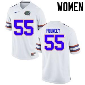 Women Florida Gators #55 Mike Pouncey College Football Jerseys White 249873-616