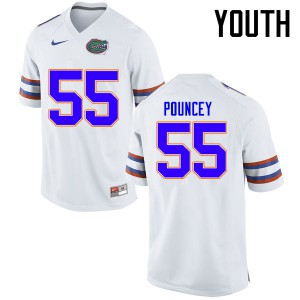 Youth Florida Gators #55 Mike Pouncey College Football Jerseys White 829241-518