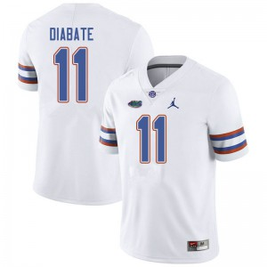 Jordan Brand Men #11 Mohamoud Diabate Florida Gators College Football Jerseys White 952709-640