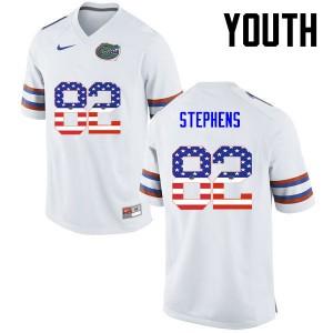 Youth Florida Gators #82 Moral Stephens College Football USA Flag Fashion White 300214-925