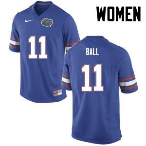 Women Florida Gators #11 Neiron Ball College Football Blue 472652-358