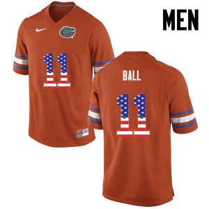 Men Florida Gators #11 Neiron Ball College Football USA Flag Fashion Orange 617814-595